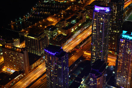 An aerial view of Toronto expressway at night