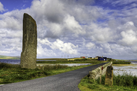 standing stone: The Standing Stone known as the Watchstone in Orkney, Scotland Stock Photo