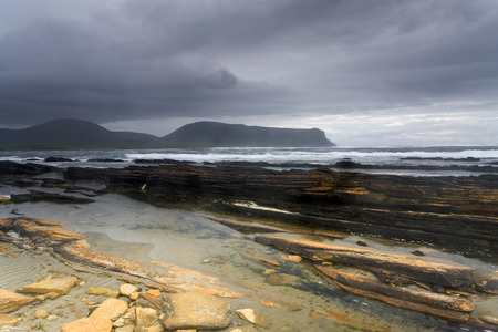 storm coming: Beautiful Warbeth Bay with a storm coming Stock Photo