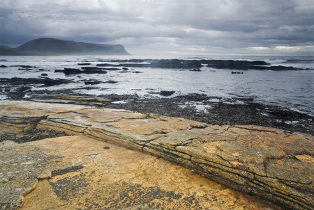 storm coming: Colorful Warbeth Bay, Orkney with a storm coming