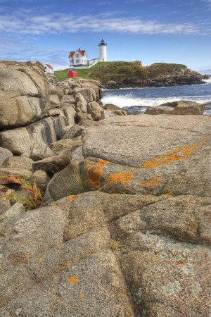 Nubble Light, Maine, with boulders in the foreground