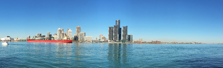 freighter: Panorama of the Detroit, Michigan Skyline with freighter in foreground Stock Photo