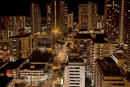 honolulu: A night aerial view of Honolulu, Hawaii