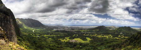 A panoramic view from the Pali Lookout in Hawaii