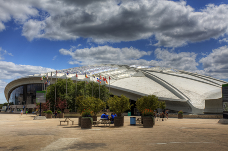 Side view of the Biodome in Montreal, Canada Editorial