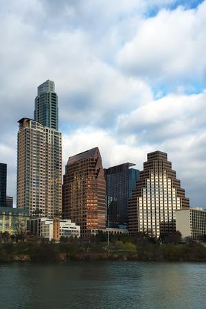 A Vertical of Austin, Texas, skyline at twilight