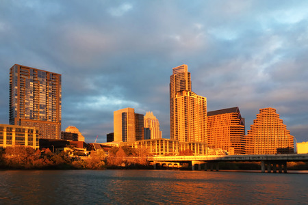 The Austin skyline glows at sunset