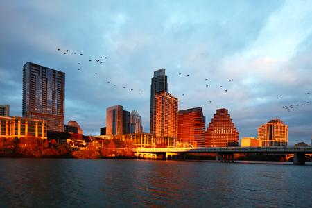 Austin skyline glows at sunset