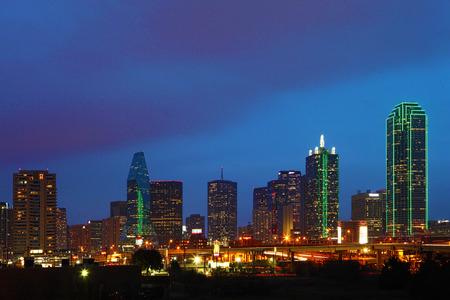 The Dallas, Texas skyline at twilight