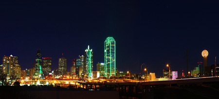 A Panorama of the Dallas, Texas skyline at night