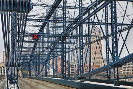 allegheny: A Colorful bridge with Pittsburgh, PA, skyline