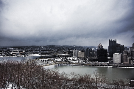 allegheny: A Wide view of Pittsburgh city center in snowstorm