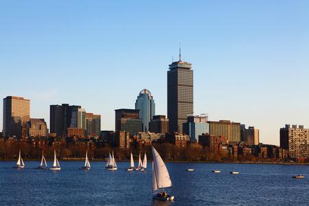 massachusetts: The Boston, Massachusetts skyline with sailboats Editorial