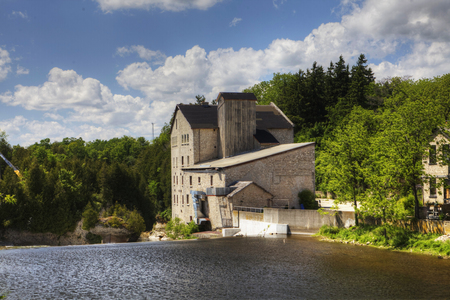 The old mill in Elora on a sunny day