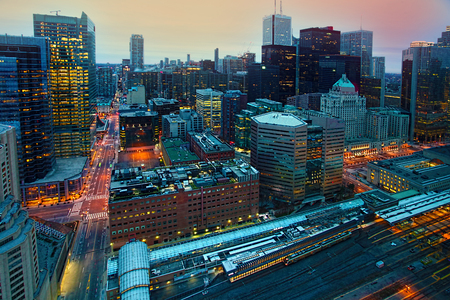 Looking down on the city center of Toronto, canada at dark Stok Fotoğraf
