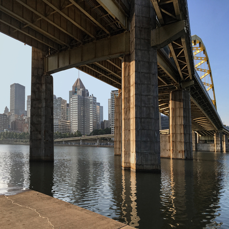 industrial park: A Square view of bridge and Pittsburgh skyline