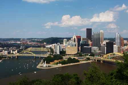 industrial park: An Aerial view of the Pittsburgh skyline Stock Photo