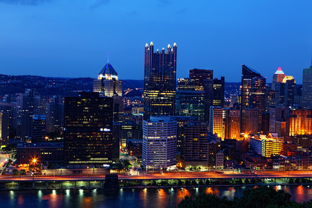industrial park: A Night view of the Pittsburgh, Pennsylvania skyline