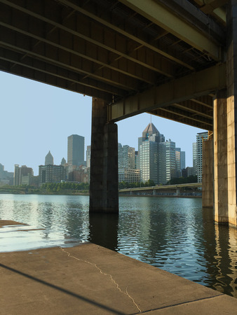 industrial park: A Vertical view of bridge and Pittsburgh skyline