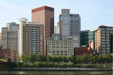 industrial park: A Close view of the Pittsburgh skyline