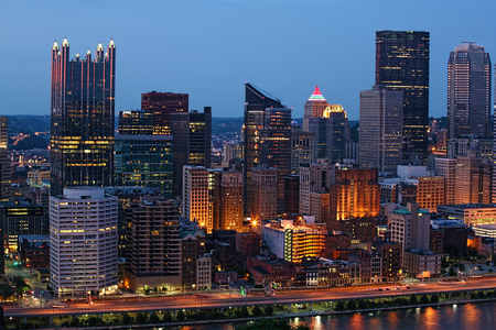 industrial park: A Night view of the Pittsburgh city center