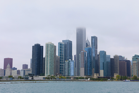 A View of Chicago Skyline in mist Stock Photo