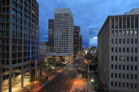A Dusk view of Phoenix city center
