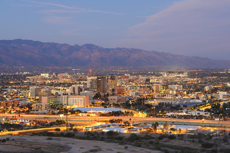 The Tucson, Arizona skyline at dusk Stock Photo