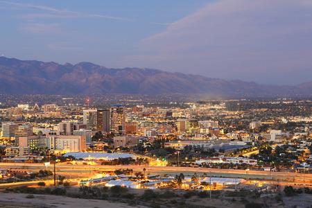 The Tucson, Arizona city center at dusk