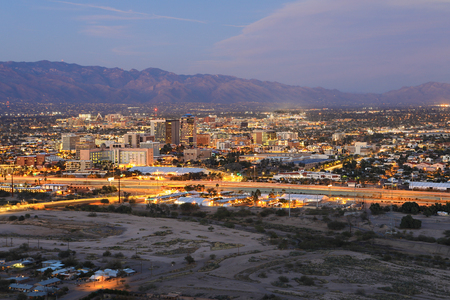 The Tucson, Arizona skyline at twilight