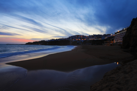 The beach in Albufeira, Portugal at dark
