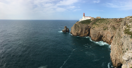 A Panorama of Cape St . Vincent Lighthouse in Portugal