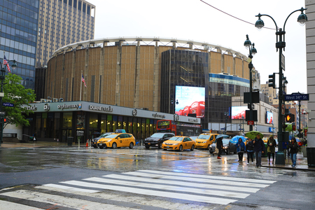 A View of Penn Station in Manhattan on a rainy day