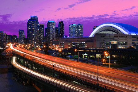 A View at Gardiner Expressway in Toronto, Canada at night