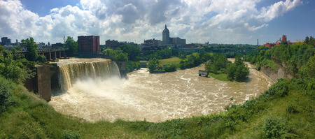 A Panorama view of the City of Rochester and High Falls