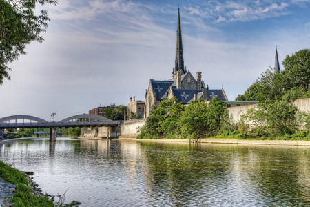 A Sunny morning by the Grand River in Cambridge, Canada Stockfoto
