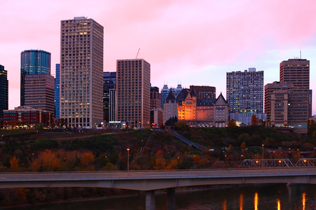 The Edmonton cityscape as twilight falls