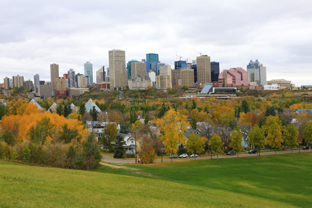 An Edmonton, Canada cityscape with colorful aspen in fall Stock Photo