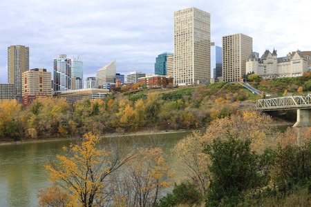 An Edmonton city center with colorful aspen in autumn