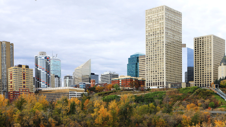 An Edmonton, Canada cityscape with colorful aspen in autumn
