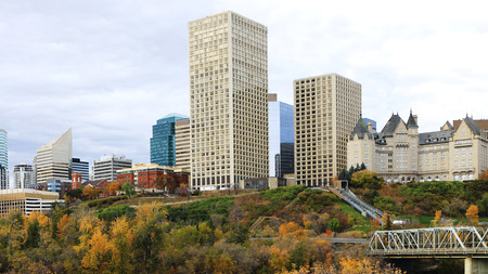 An Edmonton, Canada city center with colorful aspen in fall