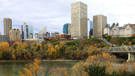 An Edmonton, Canada city center with colorful aspen in autumn Stock Photo