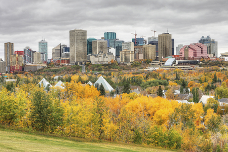 An Edmonton cityscape with colorful aspen in autumn
