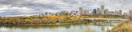 A Panorama of Edmonton, Alberta, Canada with colorful aspen in fall Stock Photo