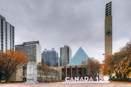 The Edmonton Canada City Hall with Canada 150 sign