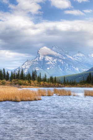 A Vertical of Vermillion Lakes and Mount Rundle near Banff, Canada