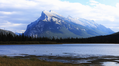 A View of Vermillion Lakes and Mount Rundle near Banff, Alberta Stock Photo