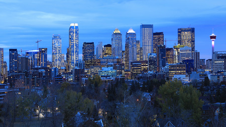 A Night view of Calgary, Canada skyline