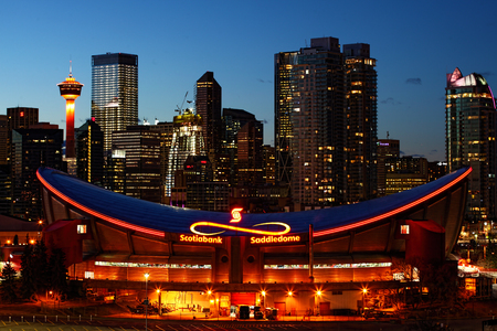 Night view of Saddledome in Calgary, Canada