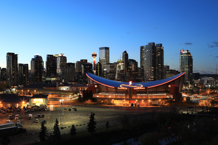 A Night view of city center of Calgary, Canada